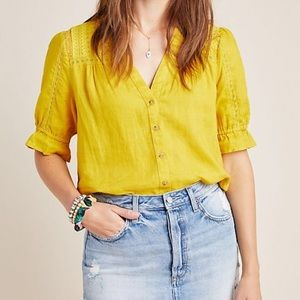 Maeve by Anthropologie Magritte Linen Buttondown
